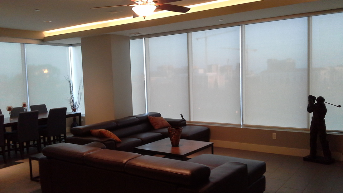 Commercial Window Shades in a Lounge
